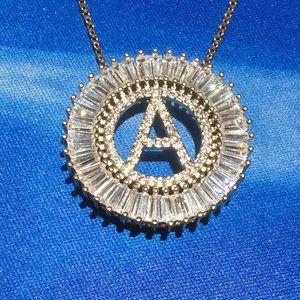 Baguette letter A necklace